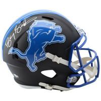 BARRY SANDERS Autographed Detroit Lions Full Size Black Matte Replica Helmet FANATICS