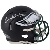 CARSON WENTZ Autographed Black Matte Philadelphia Eagles Speed Mini Helmet FANATICS