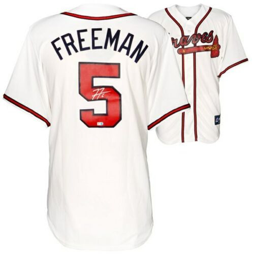 18cb4c5774cf1 FREDDIE FREEMAN Autographed Atlanta Braves White Majestic Jersey FANATICS