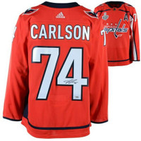 JOHN CARLSON Washington Capitals 2018 Stanley Cup Champions Autographed Red Adidas Authentic Jersey with 2018 Stanley Cup Final Patch FANATICS