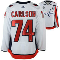 JOHN CARLSON Washington Capitals 2018 Stanley Cup Champions Autographed White Adidas Authentic Jersey with 2018 Stanley Cup Final Patch FANATICS