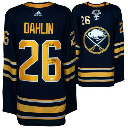 6d5636301 RASMUS DAHLIN Autographed Buffalo Sabres NHL Debut Authentic Blue Adidas  Jersey FANATICS