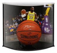 LeBRON JAMES Autographed Los Angeles Lakers Official NBA Authentic Basketball Curve Display  UDA