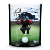 TIGER WOODS Signed Pebble Beach Hole #7 Photo including Range Driven Ball UDA