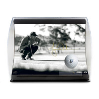 "TIGER WOODS Autographed ""Lining it Up"" Photo and Ball in Curve Display UDA Limited Edition of 50"