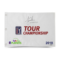 "TIGER WOODS Autographed & Inscribed ""65-68-65-71 – 269"" 2018 Tour Championship Pin Flag UDA Limited Edition of 80"