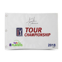 "TIGER WOODS Autographed & Inscribed ""80th Tour Win"" 2018 Tour Championship Pin Flag UDA Limited Edition of 80"