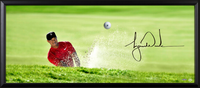 "TIGER WOODS Autographed Breaking Through ""Precision"" 44 x 18 Photo with Bridgestone Golf Ball UDA"