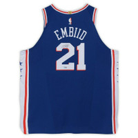 JOEL EMBIID Philadelphia 76ers Autographed Nike Authentic Blue Jersey FANATICS