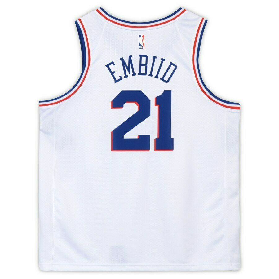 new styles 8464b 52227 JOEL EMBIID Philadelphia 76ers Autographed Nike White Earned Edition  Swingman Jersey FANATICS