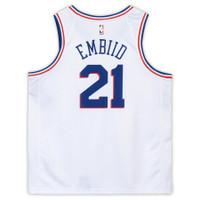 JOEL EMBIID Philadelphia 76ers Autographed Nike White Earned Edition Swingman Jersey FANATICS