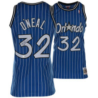 SHAQUILLE O'NEAL Autographed Mitchell & Ness Orlando Magic Blue Pinstripe Jersey FANATICS