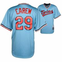 "ROD CAREW Autographed ""HOF 91"" Minnesota Twins Majestic Cooperstown Powder Blue Jersey FANATICS"