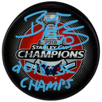 "BRADEN HOLTBY Autographed ""2018 SC Champs"" Washington Capitals Official Stanley Cup Champions Puck FANATICS"
