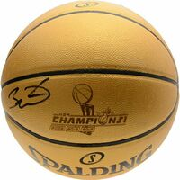 DWYANE WADE Autographed Miami Heat 3x Champions Gold Spalding Basketball FANATICS