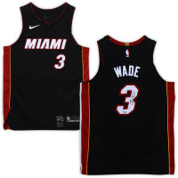 DWYANE WADE Autographed Miami Heat Black Nike Authentic Jersey FANATICS