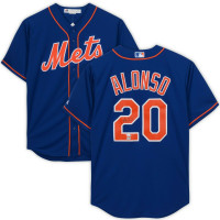 PETE ALONSO Autographed New York Mets Blue Majestic Replica Jersey FANATICS