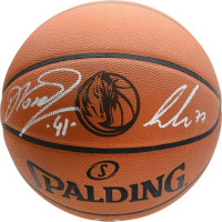 LUKA DONCIC & DIRK NOWITZKI Autographed Dallas Mavericks Logo Authentic Spalding Basketball FANATICS