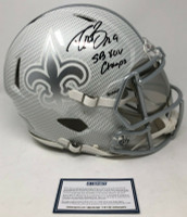 "DREW BREES Autographed ""SB XLV Champs"" New Orleans Saints Authentic Riddell Speed Hydro Dipped Helmet STEINER"
