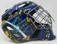 "JORDAN BINNINGTON Autographed ""2019 SC Champs / Rookie Rec 16 Wins"" St. Louis Blues Replica Goalie Mask - Limited Edition of 50 - FANATICS"