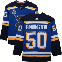 JORDAN BINNINGTON Autographed 2019 Stanley Cup Patch Authentic Blue St. Louis Blues Jersey FANATICS