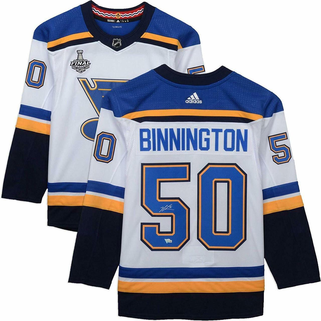 save off a9a5a 4cd77 JORDAN BINNINGTON Autographed 2019 Stanley Cup Patch Authentic White St.  Louis Blues Jersey FANATICS