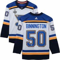 JORDAN BINNINGTON Autographed 2019 Stanley Cup Patch Authentic White St. Louis Blues Jersey FANATICS