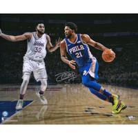 "JOEL EMBIID Philadelphia 76ers Autographed ""Driving The Lane"" 16"" x 20"" Photograph - FANATICS"