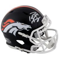 PEYTON MANNING Autographed Denver Broncos Black Matte Speed Mini Helmet - FANATICS