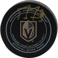 MARC-ANDRE FLEURY Autographed Las Vegas Golden Knights Inaugural Opening Night Official Game Puck FANATICS