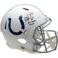 "PEYTON MANNING Autographed Indianapolis Colts ""5x NFL MVP"" Speed Helmet FANATICS"