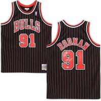 "DENNIS RODMAN Autographed Chicago Bulls ""HOF 2011"" Pinstripe Jersey FANATICS"