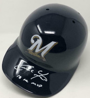 "CHRISTIAN YELICH Autographed Milwaukee Brewers ""18 NL MVP"" Batting Helmet STEINER"