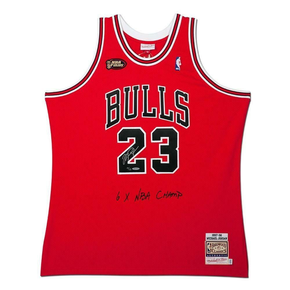 separation shoes 6f208 46095 MICHAEL JORDAN Autographed Bulls 1997-98 NBA Finals Authentic Jersey UDA LE  123