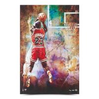 """MICHAEL JORDAN Autographed Chicago Bulls """"The Shot"""" 24"""" x 36"""" Photograph UDA LE 123"""