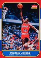"MICHAEL JORDAN Signed Chicago Bulls ""Fleer Rookie Card Blow Up"" 12.5"" x 17.5"" UDA"