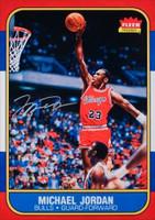 "MICHAEL JORDAN Signed Chicago Bulls ""Fleer Rookie Card Blow Up"" 12.5"" x 17.5"" UDA"