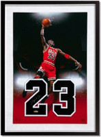 "MICHAEL JORDAN Chicago Bulls Signed Jersey Numbers ""Bulls-Eye"" 16 x 24 UDA"