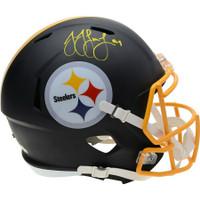 JUJU SMITH-SCHUSTER Autographed Pittsburgh Steelers Black Matte Speed Helmet FANATICS