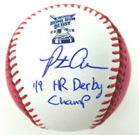 """PETE ALONSO New York Mets Autographed """"19 HR Derby Champ"""" Pink Money Baseball FANATICS"""