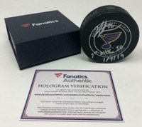 "JORDAN BINNINGTON Autographed St. Louis Blues ""1st NHL SO 1/7/19"" Official Puck FANATICS"