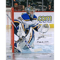 "JORDAN BINNINGTON Autographed St. Louis Blues ""1st NHL SO 1/7/19"" 16 x 20 Photo FANATICS"
