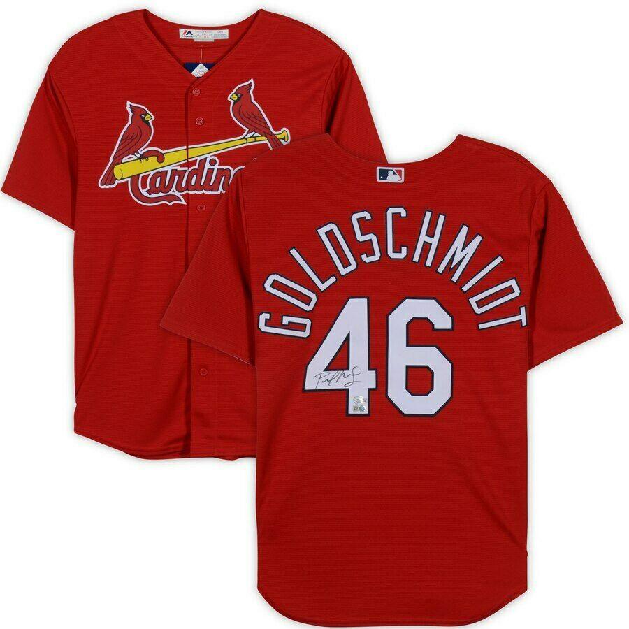 buy popular 0900a 4914a PAUL GOLDSCHMIDT Autographed St. Louis Cardinals Majestic Red Jersey  FANATICS