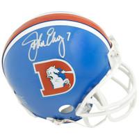 JOHN ELWAY Autographed Denver Broncos Old D Mini Helmet FANATICS