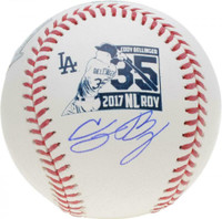 CODY BELLINGER Autographed Los Angeles Dodgers 2017 ROY Logo Baseball FANATICS