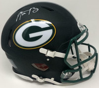 AARON RODGERS Autographed Green Bay Packers Black Matte Speed Helmet FANATICS