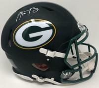AARON RODGERS Autographed Green Bay Packers Black Matte Speed Helmet FANATICS
