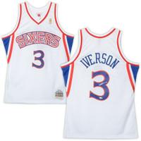 ALLEN IVERSON Autographed Philadelphia 76ers White M&N Jersey FANATICS