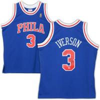 """ALLEN IVERSON Autographed Philadelphia Sixers """"ROY 97"""" Blue M&N Jersey FANATICS"""