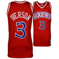 "ALLEN IVERSON Autographed Philadelphia Sixers ""The Answer"" Red M&N Jersey FANATICS"